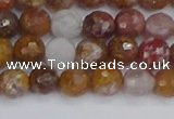 CAG9911 15.5 inches 6mm faceted round red moss agate beads