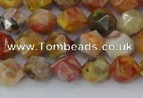 CAA1014 15.5 inches 6mm faceted nuggets red crazy lace agate beads