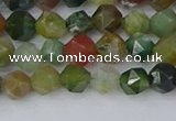 CAA1026 15.5 inches 6mm faceted nuggets Indian agate beads