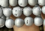 CAA1270 15.5 inches 6mm round matte plated druzy agate beads