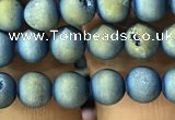CAA1277 15.5 inches 6mm round matte plated druzy agate beads