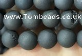 CAA1280 15.5 inches 6mm round matte plated druzy agate beads