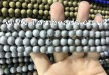 CAA1290 15.5 inches 8mm round matte plated druzy agate beads