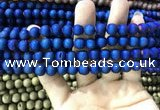 CAA1299 15.5 inches 8mm round matte plated druzy agate beads