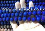 CAA1340 15.5 inches 12mm round matte plated druzy agate beads