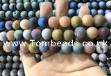CAA1342 15.5 inches 12mm round matte plated druzy agate beads