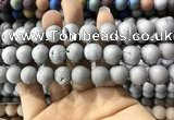 CAA1350 15.5 inches 14mm round matte plated druzy agate beads