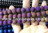 CAA1354 15.5 inches 14mm round matte plated druzy agate beads