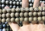 CAA1355 15.5 inches 14mm round matte plated druzy agate beads