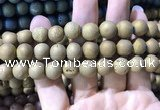 CAA1356 15.5 inches 14mm round matte plated druzy agate beads