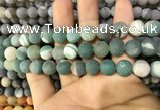 CAA1424 15.5 inches 10mm round matte druzy agate beads