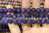 CAA1436 15.5 inches 12mm round matte druzy agate beads