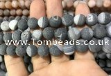 CAA1455 15.5 inches 14mm round matte druzy agate beads