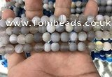 CAA1470 15.5 inches 6mm round matte banded agate beads wholesale