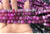 CAA1500 15.5 inches 6mm round matte banded agate beads wholesale