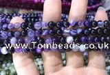 CAA1555 15.5 inches 6mm round banded agate beads wholesale