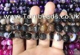 CAA1637 15.5 inches 10mm faceted round banded agate beads