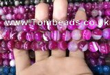 CAA1657 15.5 inches 10mm faceted round banded agate beads