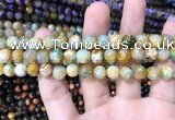 CAA1706 15 inches 8mm faceted round fire crackle agate beads