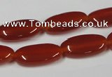 CAA171 15.5 inches 10*20mm oval red agate gemstone beads