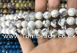 CAA1727 15 inches 10mm faceted round fire crackle agate beads