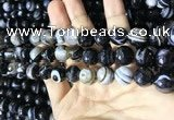 CAA2201 15.5 inches 12mm faceted round banded agate beads