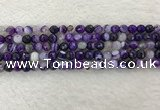 CAA2212 15.5 inches 6mm faceted round banded agate beads
