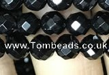 CAA2416 15.5 inches 6mm faceted round black agate beads wholesale