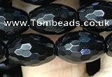 CAA2499 15.5 inches 8*12mm faceted rice black agate beads wholesale