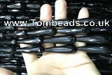 CAA2522 15.5 inches 12*40mm faceted teardrop black agate beads