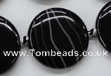 CAA265 15.5 inches 30mm flat round black line agate gemstone beads