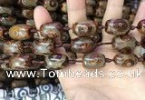 CAA2667 15.5 inches 14*21mm - 16*22mm drum tibetan agate dzi beads