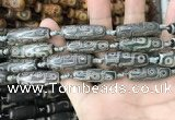 CAA2678 15.5 inches 9*29mm - 10*30mm rice tibetan agate dzi beads
