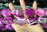 CAA2772 25*32mm - 27*35mm faceted freeform line agate beads