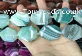 CAA2775 25*32mm - 27*35mm faceted freeform line agate beads