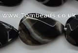 CAA278 15.5 inches 23*30mm faceted teardrop black line agate beads