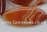 CAA296 15.5 inches 30*60mm oval red line agate gemstone beads