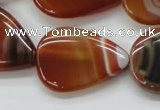 CAA297 15.5 inches 24*30mm flat teardrop red line agate beads