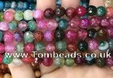 CAA3010 15 inches 8mm faceted round fire crackle agate beads wholesale