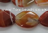 CAA303 15.5 inches 18*25mm faceted oval red line agate beads