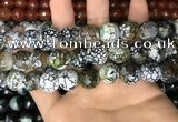 CAA3188 15 inches 14mm faceted round fire crackle agate beads wholesale