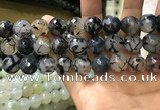 CAA3190 15 inches 14mm faceted round fire crackle agate beads wholesale