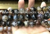 CAA3191 15 inches 14mm faceted round fire crackle agate beads wholesale