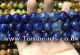 CAA3195 15 inches 14mm faceted round fire crackle agate beads wholesale