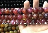 CAA3197 15 inches 14mm faceted round fire crackle agate beads wholesale