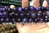 CAA3202 15 inches 14mm faceted round fire crackle agate beads wholesale