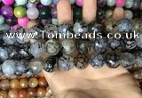 CAA3230 15 inches 16mm faceted round fire crackle agate beads wholesale