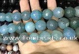 CAA3237 15 inches 16mm faceted round fire crackle agate beads wholesale