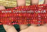 CAA3266 15 inches 4mm faceted round agate beads wholesale