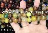 CAA3404 15 inches 12mm faceted round agate beads wholesale